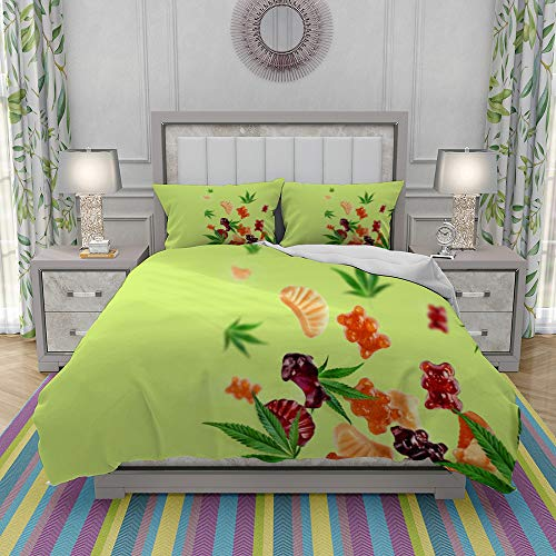 DIIRCYB Duvet Cover Set-Bedding,Colored Gummies Fly Along With Cannabis Leaves Chewing Candies Gummies With Cbd Oil,Quilt Cover Bedlinen-Microfibre 220x240cm with 2 Pillowcase 50x80cm