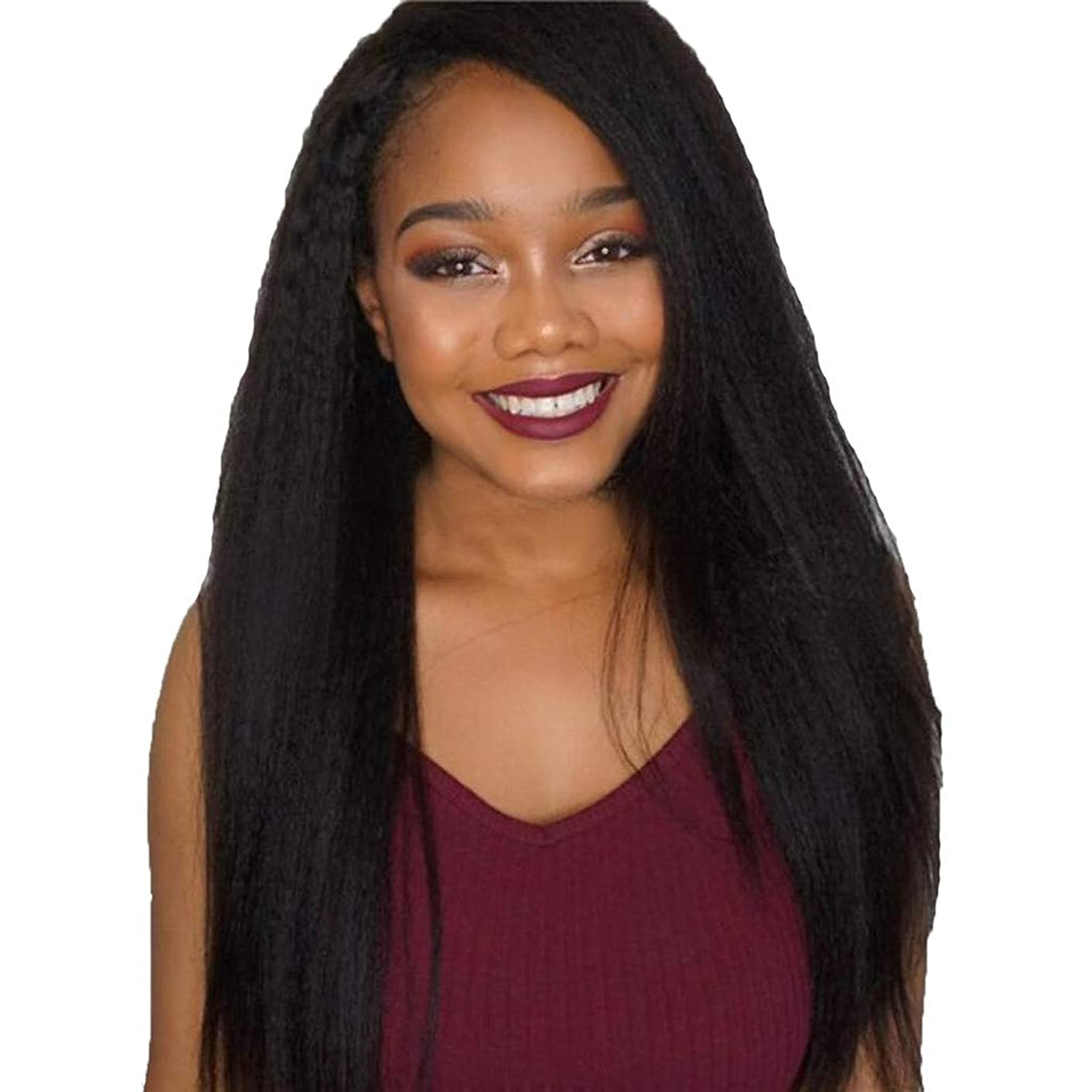 26inch Women's Silky Long Straight Black Wig Heat Resistant Synthetic Wig With Bangs Hair Wig for Women (a)