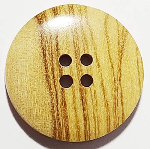 18mm 20mm Curva natural de madera de oliva oscuro borde dos Botón Agujero 28mm 15mm