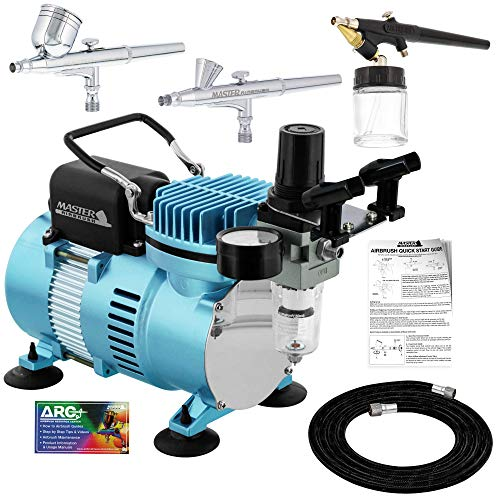 Master Airbrush Cool Runner II Dual Fan Air Compressor Airbrushing System Kit with 3 Professional Airbrush Sets, 0.2, 0.3 mm Gravity & 0.8 mm Siphon Feed - Hose, Holder, How To Airbrush Learning Guide