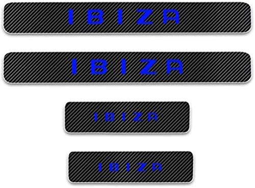 JZAMQ Anti-Kratz-Platte Für Autoschwelle Für Passend Für 4 Stück Externe Carbon-Faser-Leder-Auto Kick-Platten Pedal for Seat Ibiza, Einstieg Willkommen Pedal-Tritt Scuff Threshold Bar Pr.