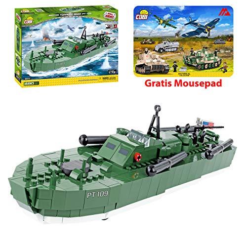 COBI Spielzeug Konstruktion Motortorpedoboot PT-109 Bauklötzen Bausteine 2377 + Mauspad von Juminox Gratis