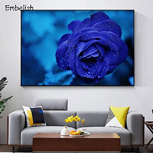 KWzEQ Canvas Painting blue Rose on wall art for bedroom living room70x105cmFrameless painting
