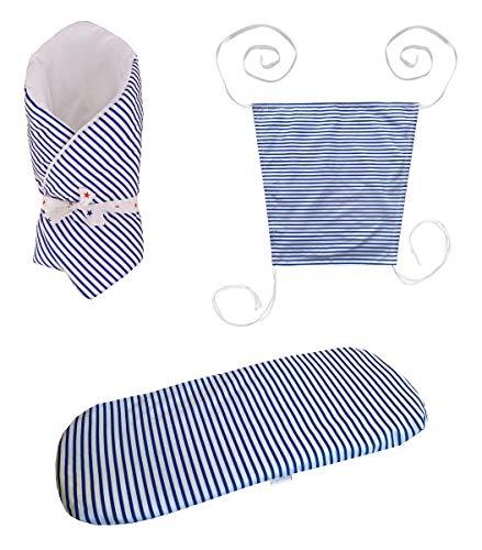 Vizaro - Pack Textil Paseo Bebé - 3 Artículos - Sábana, Arrullo, Toldo - - 100% Algodón - Hecho UE, OekoTex - Barquito
