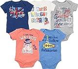 The Beatles Lyrics Infant Baby Boys' 5 Pack Bodysuits Blue, Red, White, Navy, Grey (0-3 Months)