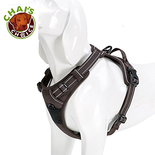 Chai#039s Choice Best Outdoor Adventure Dog Harness 3M Reflective Vest with Handle and Two Leash AttachmentsCaution Please Use Sizing Chart at Left Before Ordering Matching XLarge Chocolate