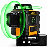 3 x 360 Green Laser Level, Kaiweets Professional Laser Auto Level, USB Charging, Self-leveling and Outdoor Pulse Mode (With 2 rechargeable batteries, Magnetic holder and carrying bag)