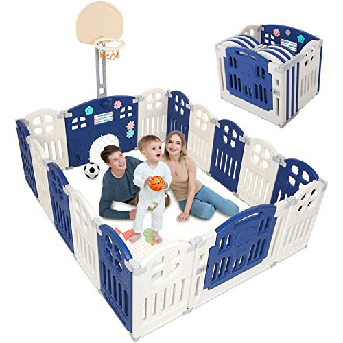 Naice Baby Playpen 16 Panel Foldable Large Baby Play Yard, Kids Safety Activity Center for Boys Girls Infant Lock Gate, Anti-Fall Fence, Basketball Hoop & Goal, Sturdy Frame Baby Gift (Blue + White)