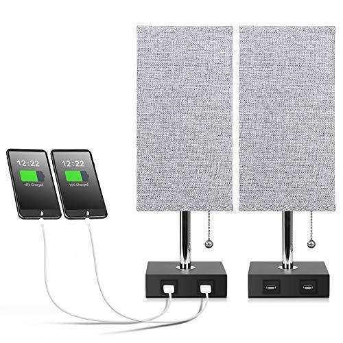 USB Table Lamp, Aooshine Bedside Table Lamps with 2 Useful USB Charging...