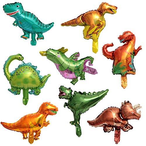 ED-Lumos Globos Dinosaurio de Helio 8 Piezas Decoración para cumpleaños Fiesta de los niños 45cm x 30cm