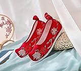 YYYSHOPP scarpe ricamate 3cm altezza interna stile stringata scarpe ricamate Mary Janes (colore : Rosso, Taglia : 6 UK)