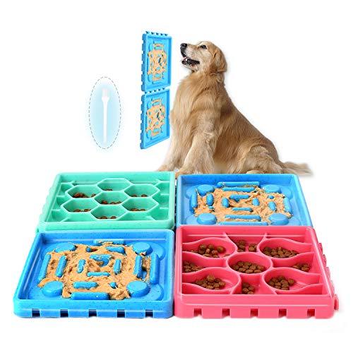 Ownpets 4 Stück Hundespielzeug für langsame Fütterung für Welpen, Leckerli-Spender, Puzzle-Futterspender für langsames Füttern, interaktiver Futternapf für Hunde mit rutschfestem Futternapf