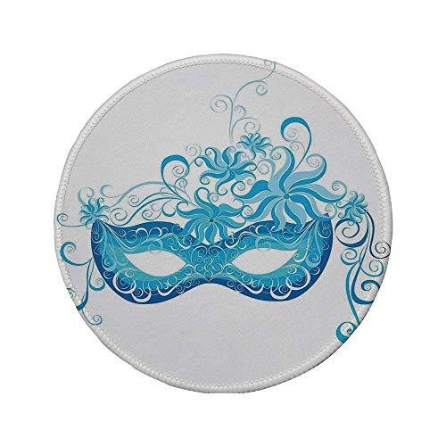 Rutschfreies Gummi-rundes Mauspad Maskerade Maske im venezianischen Stil Majestätisch imitierend Genießen des Halloween-Nacht-Themas Blau und Himmelblau 7.9