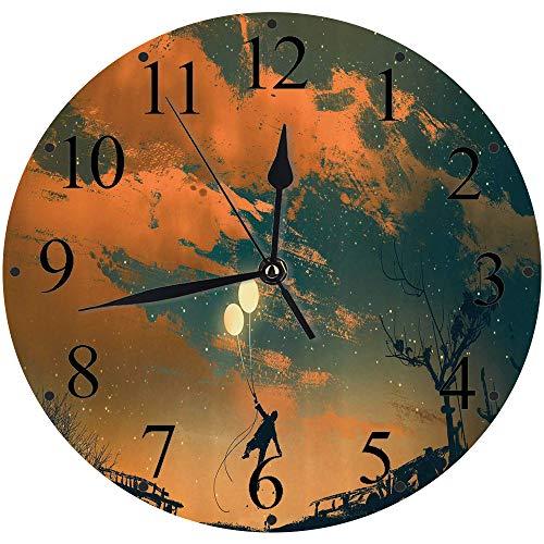 Yaoni Silencioso Wall Clock Decoración de hogar de Reloj de Redondo,Fantasía, Hombre Volador con Globos en Sky Starry Night Freedom Fun Theme ilustración, Azul,para Hogar, Sala de Estar, el Aula
