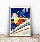 Montreux Ski-Poster, Schweizer Reisekunst, Schweiz