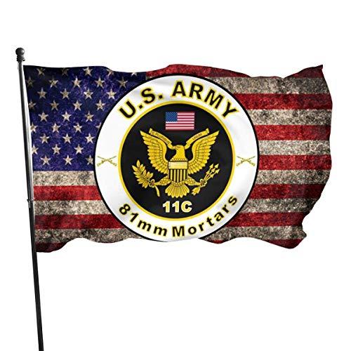 Außenflagge,Verandafahne,Dekoration Flagge,Garten Flagge,Willkommensflagge,Us Army Mos 11C 81Mm Mörser Mit Hausflagge Gartenflagge,Polyesterflagge,3'X5'Ft