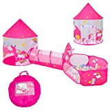 FURNIFE 3pcs Kids Play Tent for Babies Toddler Girls,Crawl Tunnel & Ball Pit with Basketball Hoop, Unicorn Kids Playhouse Castle Tent Indoor & Outdoor Playhouse