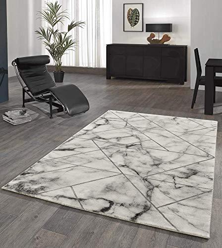 Designer Teppich Wohnzimmer Teppich Marmor Optik mit Glanzfasern in Grau Größe 80x150 cm