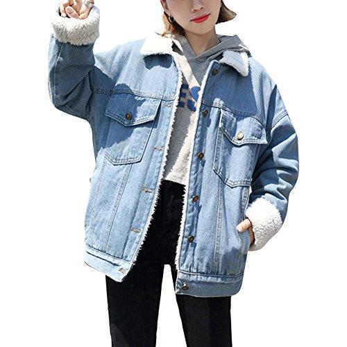 Giacca di Jeans, Donna Caldo Giacche Capispalla Inverno Cappotto Denim Cappotti Azzurro Chiaro M
