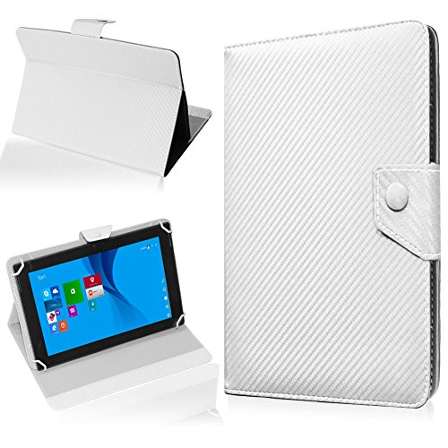 NAUC Tasche Hülle für ODYS Ieos Quad 10 Pro Schutzhülle Tablet Cover Hülle Bag Etui, Modellauswahl:Weiss Carbon-Erscheinungsbild Magnetverschluss