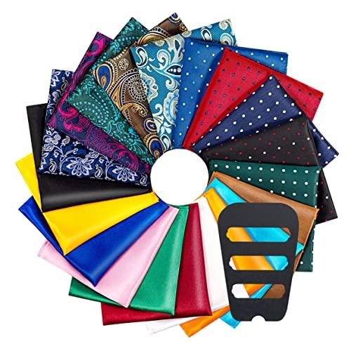 ekSel Confezione da 15 fazzoletti da taschino da uomo in confezione regalo Colori assortiti Pois Paisley Plain by