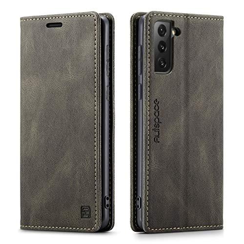 GoodcAcy Cover per Samsung Galaxy S21 Ultra Custodia,[RFID Blocking] Pelle PU Premium Flip Cover a Libro Magnetica Portafoglio per Samsung Galaxy S21 Ultra, caffè