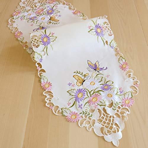 Kamaca Eindrucksvolle Serie Lovely Butterflies mit wunderschönen Schmetterlingen und Blumen hochwertige Stickereien und Cutwork Frühling Ostern (Tischläufer 40x140 cm spitz)