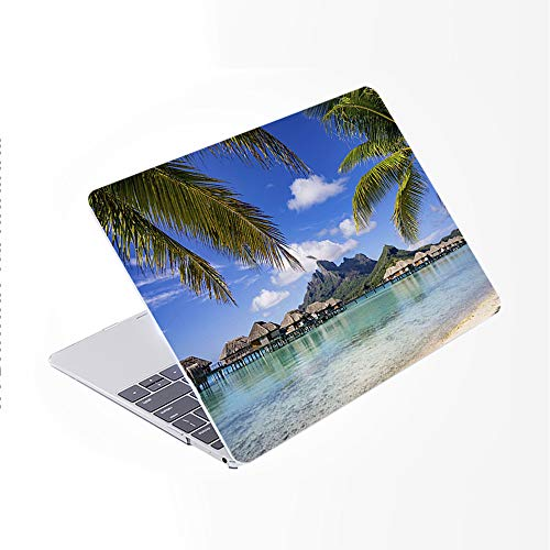 SDH for MacBook 12 Inch Case Model A1534, Plastic Pattern Hard Shell Cover & Gradient Keyboard Skin Compatible for Mac 12 inch Retina Display 2015 2016 2017 Release, Beach Scenery 5