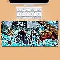 漫画のゲーミングマウスパッド、ルフィ拡張マウスパッド、滑り止めのゴムベースのマウスパッド、耐久性のあるステッチエッジキーボードパッド-アニメ_600*300*3