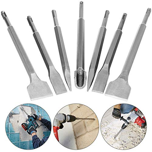 7 Pcs SDS Plus Chisel Set Hammer Drill Chisel Set 3/8 inch Masonry Concrete Chisel Drill Bits, HOLAN Rotary Hammer Chisel Bits Including 40mm Wide Chisel, 20mm Flat Chisel, Point Chisel, Gouge Chisel
