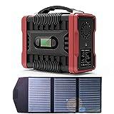 QAQWER Bateria Generador Portatil con Panel Solar & 3 Métodos de Carga & Salidas USB DC AV & Lluminación LED 60000mAh Generador Silencio Solar Adecuado para Acampar en Autocaravanas de Emergencia