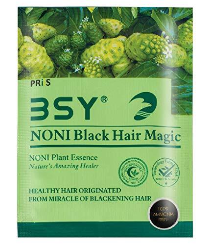 BSY, Teinture noire pour cheveux à base de plantes et d'extraits naturels de fruit noni hawaïen, sans ammoniac, sans perte de cheveux, certifiés GMPC et COA (2 x 20 ml)