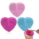Alfombrilla de limpieza de brochas de maquillaje, 3 piezas, herramienta de lavado de brochas cosméticas, alfombrilla limpiadora de pinceles, alfombrilla portátil en forma de corazón