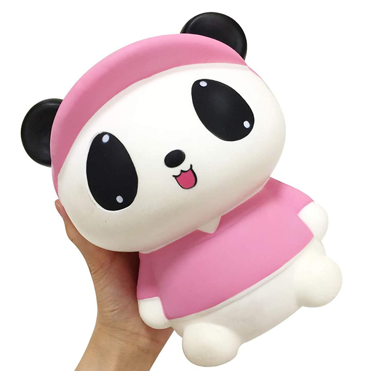 Slow Rising Toy, Jumbo Cartoon Panda Cream Scented Squishy Toy, Lovely Toy Stress Relief Kawaii Mochi Toy Party Favor Birthday Gift for Adults Kids Toldders Boys Girls (Pink)