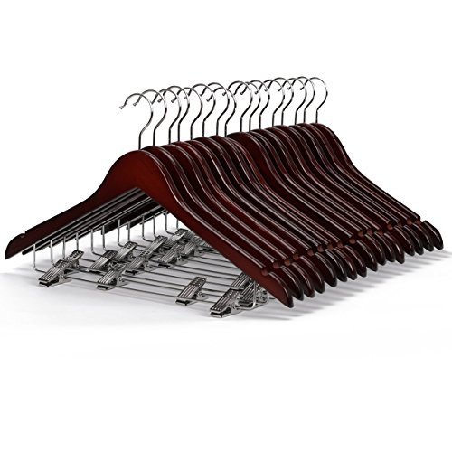 LOHAS H-01 10-Pack Walnut Finished Wooden Coat Hanger, Wood Suit Hangers with Polished Clips and Hooks, Wooden Pant Hanger, Wooden Clothes Hangers