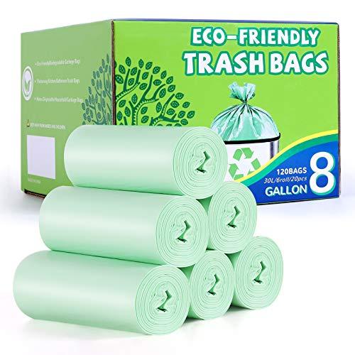 YHEEL 30L Müllbeutel Biologisch Abbaubare Müllsäcke 120 Stück Mülltüten für Küchenessen das Home Office, Rasen, Badezimmer, Grün