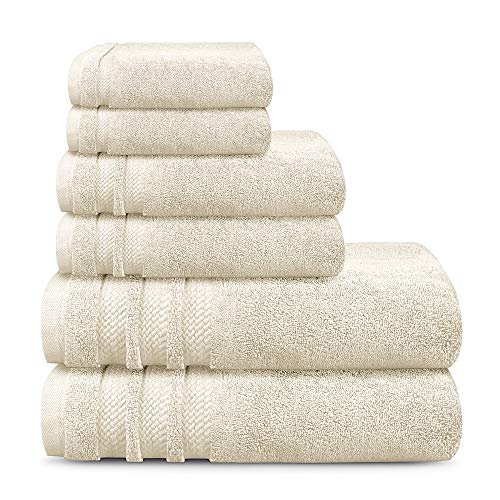 TRIDENT Luxury Hotel Collection, Extra Large Bath Towels, 100% Cotton, Zero Twist, 6 Piece Set -2 Bath, 2 Hand, 2...