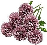 Wythe 10 unidades de flores de hortensia artificiales, 30 cm de seda, pompón de crisantemo, flores para jardín, fiesta, decoración de oficina, novia, ramo de boda, decoración de flores(morado)