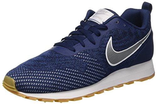 Nike Herren MD Runner 2 ENG MESH Sneakers, Mehrfarbig (Midnight Navy/Metallic Silver/Gym Blue 402), 41 EU