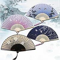 中国の日本の扇子木製シャンククラシックダンスファン高品質タッセルElegent女性ファン (Color : Style 8)