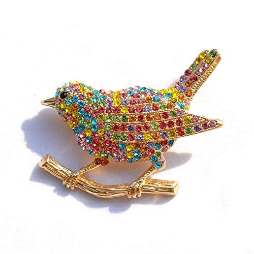 Broche de moda con diamantes de imitación de pájaro bonito pintado multicolor...