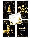 Weihnachtskarten mit Umschlägen - 20 Stück | Modern Design - Gold | 4 Motive + passender Umschlag | Für Familie, Freunde & geschäftlich | Edel Weihnachtskarten-Set Klappkarten mit Umschlag Set