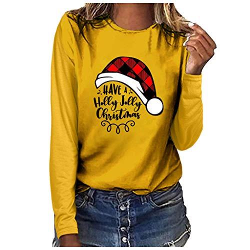 Xmiral Bluse Langärmliges T-Shirt Damen Drucken Rundhals Slim Fit Sweatshirt Weihnachten Tops Grundierung Pullover(b Gelb,S)