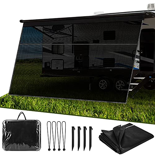 WELLUCK RV Awning Sun Shade Screen with Zipper, 9'X15' Black Mesh Camper Sunshade RV Awning Accessories, UV Blocker Privacy Screen Complete Kit for Motorhome Camper Travel Trailer Canopy