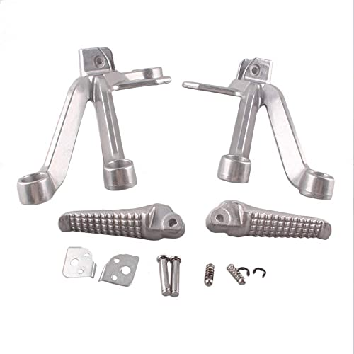 discount Mallofusa wholesale Aluminum Motorcycle Front Foot Pegs Pedal Footrests Compatible for Suzuki GSXR1000 2003 sale 2004 Silver outlet online sale