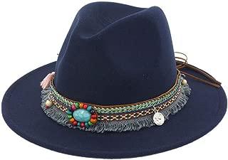 Spring Summer Women's Jazz Hat Bohemia Style Sun Bucket Panama Hat Wide Brim Fedoras Vintage Floppy Sun Beach Visors Navy
