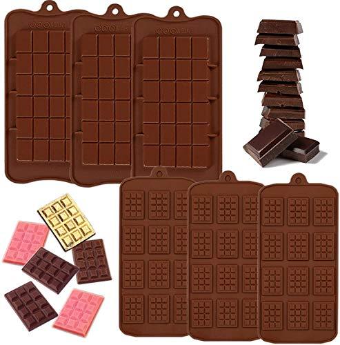 IHUIXINHE 6 Pezzi Stampi per Cioccolato in Silicone, Stampi Smontabili Proteine di Alta qualità e Stampo per Barrette Energetiche per Cioccolato, Waffle, Caramelle, Biscotti