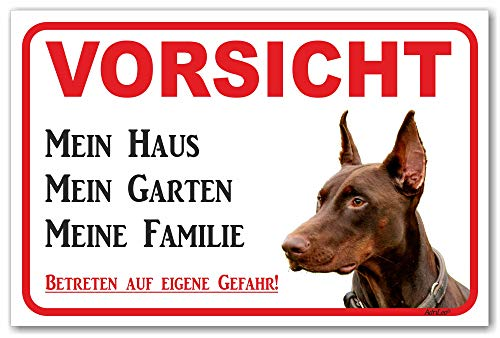 AdriLeo Schild - Vorsicht brauner Dobermann - Mein Haus - (20x30cm) / Achtung Hund Wachhund