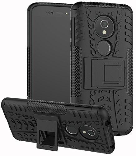 Yiakeng Funda para Moto G6 Play, doble capa, a prueba de golpes, protección completa contra caídas, con función atril para Motorola Moto G6 Play (negro)