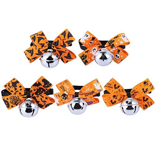 Balacoo 5 Stück Halloween Hund Bowties Welpen Bowties Hundepflege Krawatten Kragen Halloween Kostüm für Hunde Welpen Haustiere